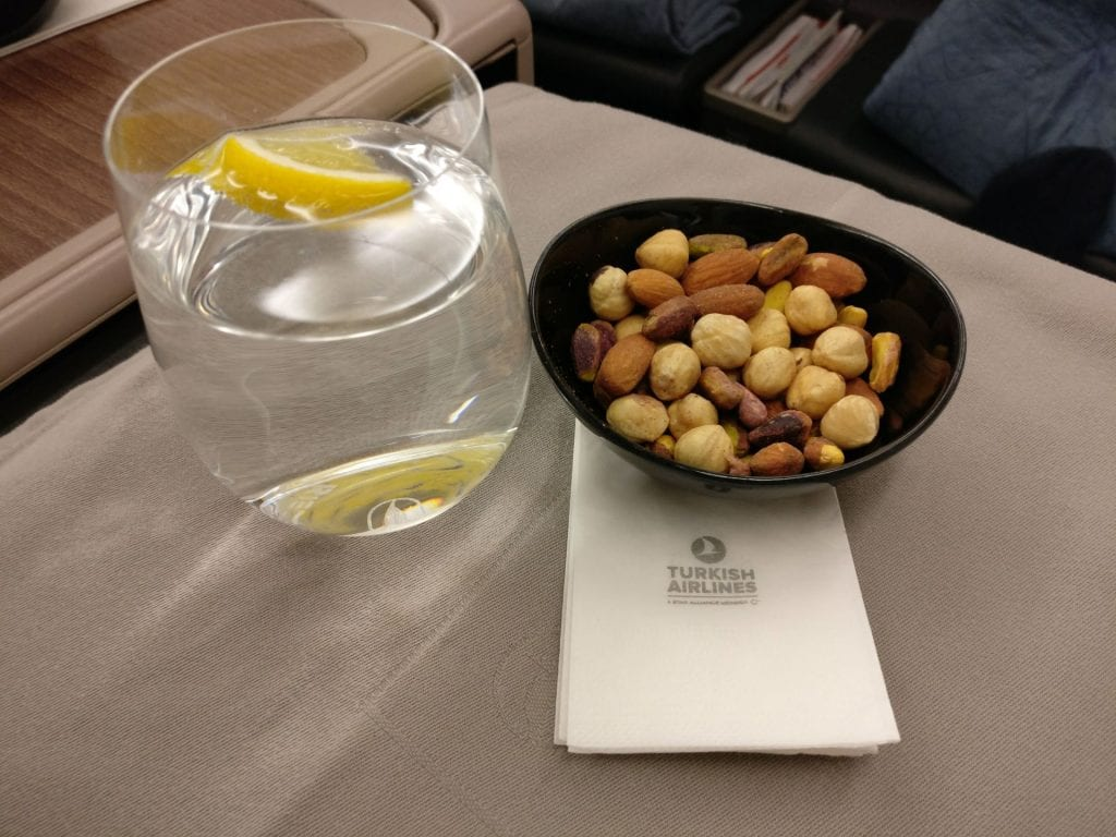 Turkish Airlines Business Class Airbus A330 Welcome Drink 2