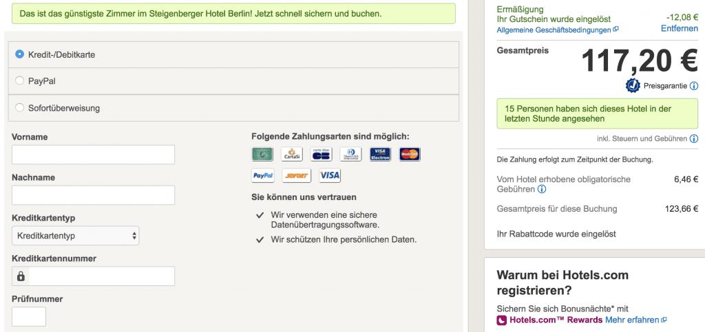 hotels.com Gutschein eingelöst