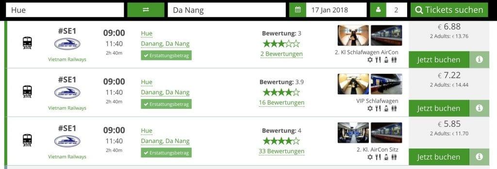 12go asia Verbindungen Hue Da Nang - Züge in Südostasien einfach buchen