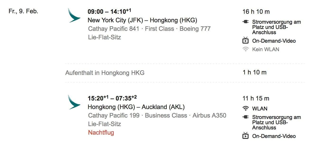 Meilen einlösen im Alaska Airlines Mileage Plan Cathay Neuseeland