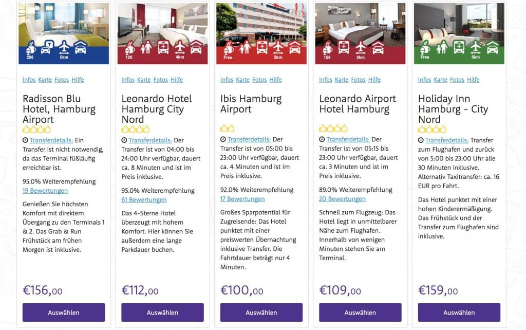Holiday Extras Hotel Auswahl