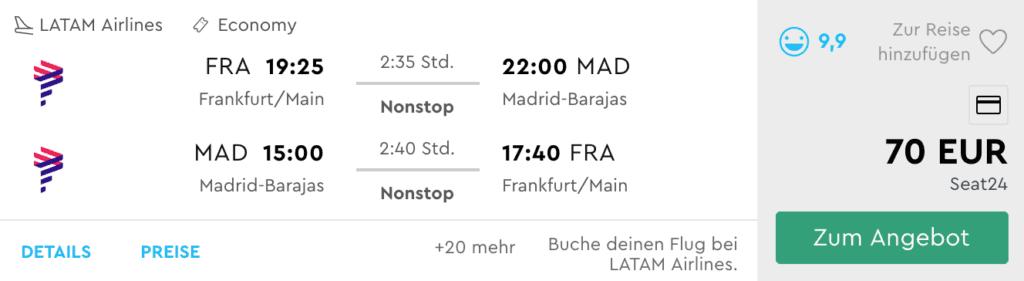 LATAM Status Match FRA MAD 70EUR