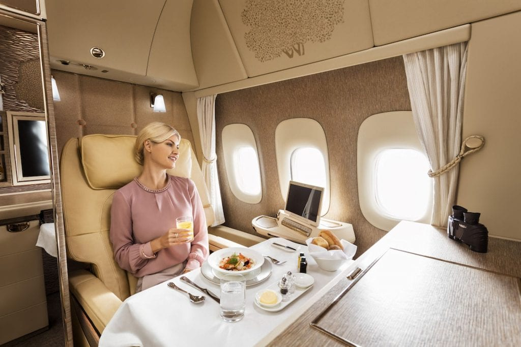 emirates neue First Class dining