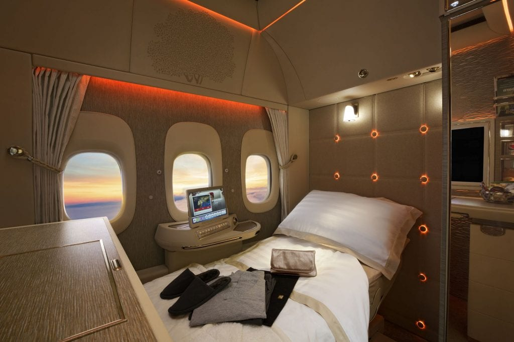 emirates neue First Class fully flat bed
