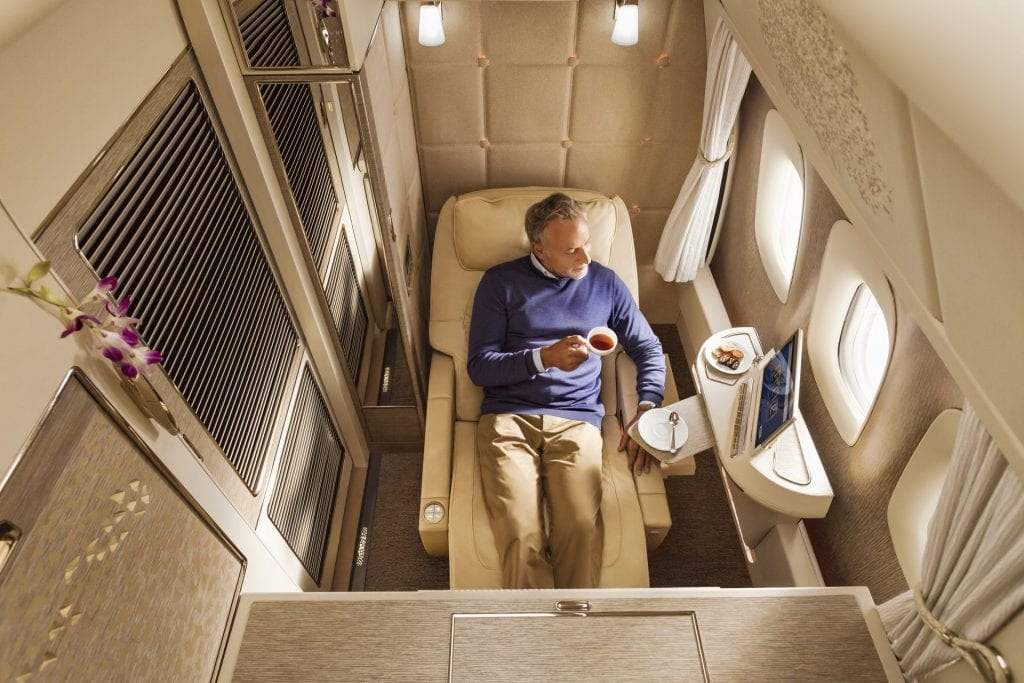 emirates neue First Class zero gravity position