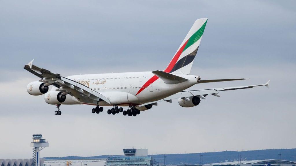 Emirates Airbus A380 Landeanflug Frankfurt