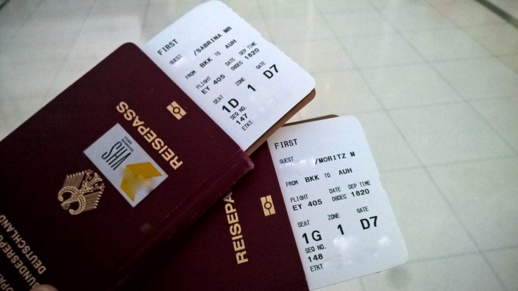 Etihad Airways First Class Bordkarte E-Ticket etkt etix