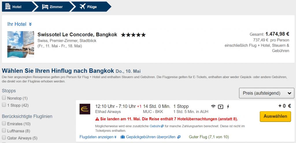 Expedia Click & Mix Flug auswählen
