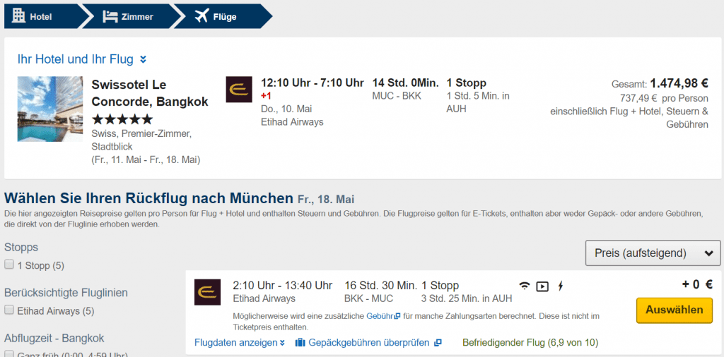 Expedia Click & Mix Flug auswählen 2