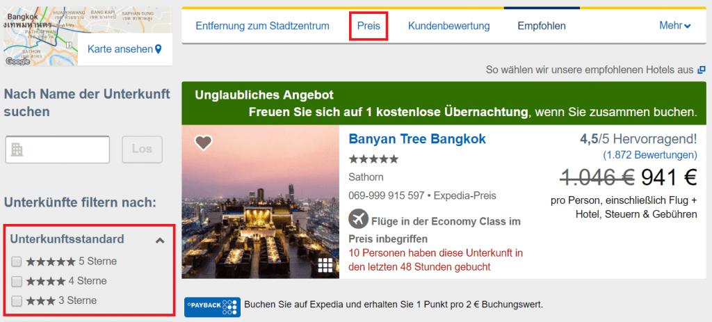 Expedia Click & Mix Vorlieben