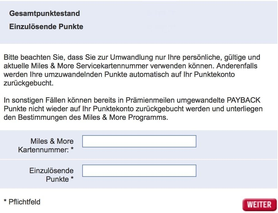 Payback Punkte zu Miles and More transferieren 5