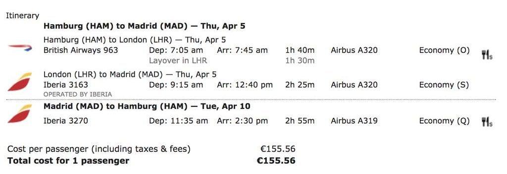 Iberia British Airways Matrix Anreise Madrid