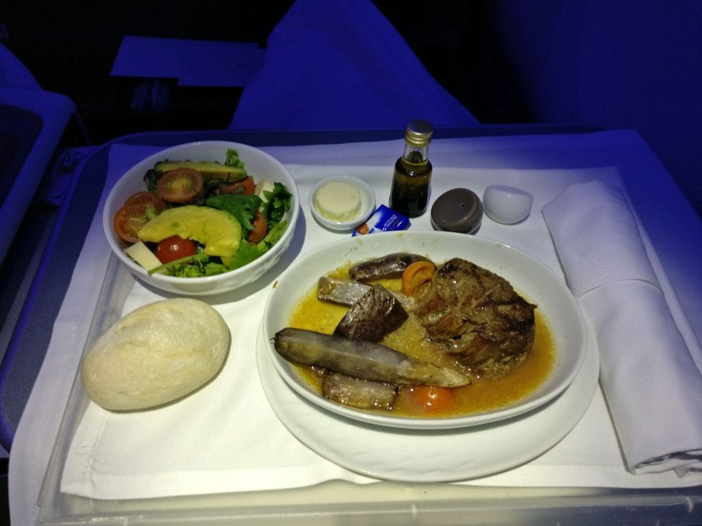 LATAM Business Class Boeing 787 9 Dinner