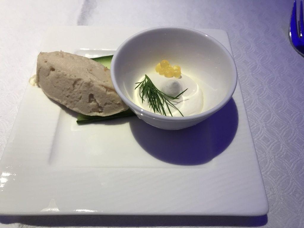Qatar Airways Business Class Airbus A350 Essen Vorspeise