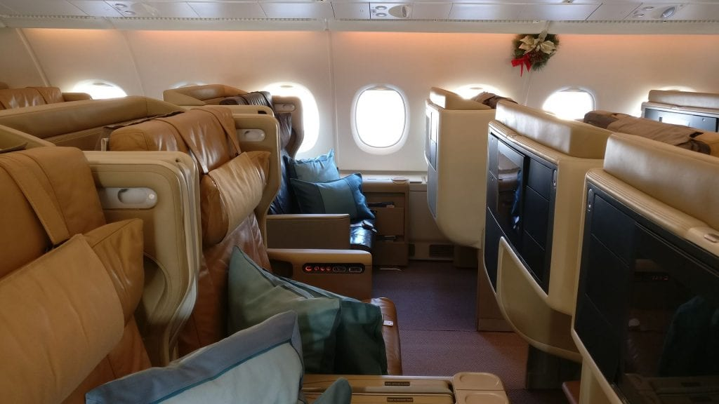 Singapore Airlines Business Class Airbus A380 Kabine