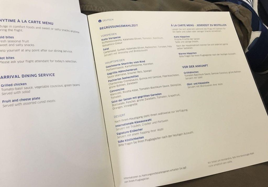 United Polaris Business Class Boeing 767 Essen Menü