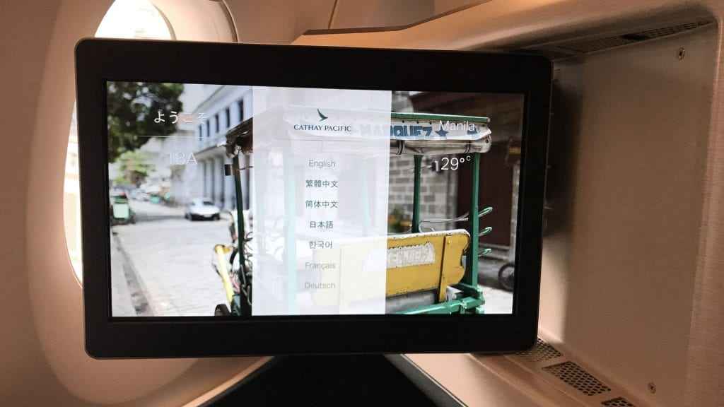 cathay pacific business class airbus a350 entertainment