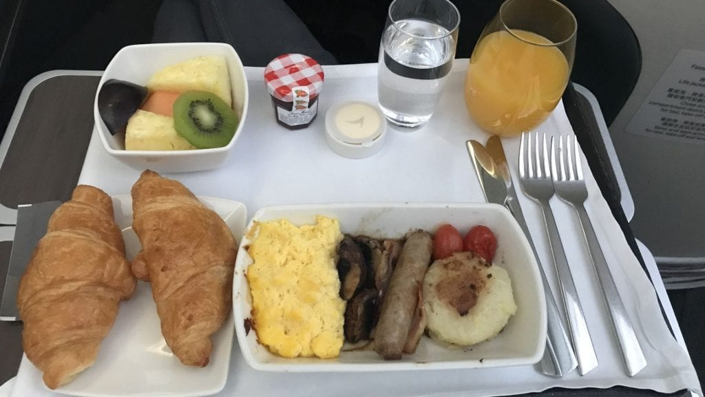cathay pacific business class airbus a350 frühstück