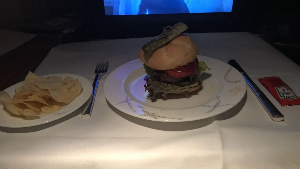 cathay pacific first class beoing 777 burger