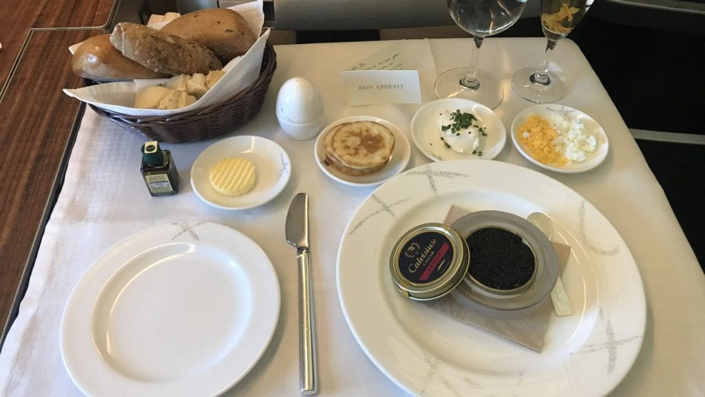 cathay pacific first class boeing 777 caviar