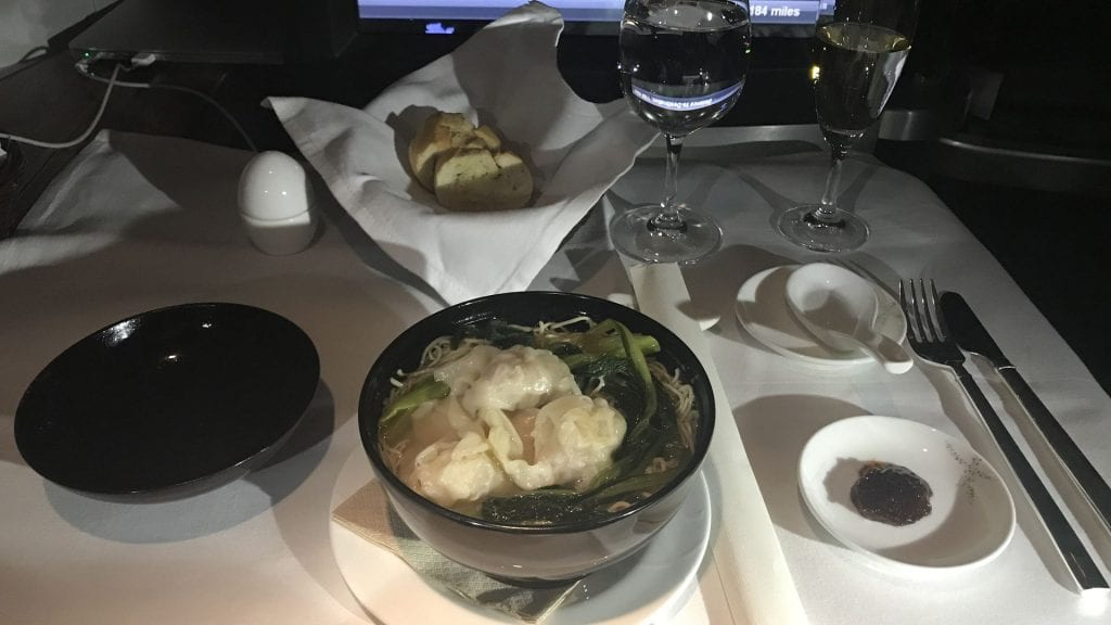 cathay pacific first class boeing 777 snack suppe