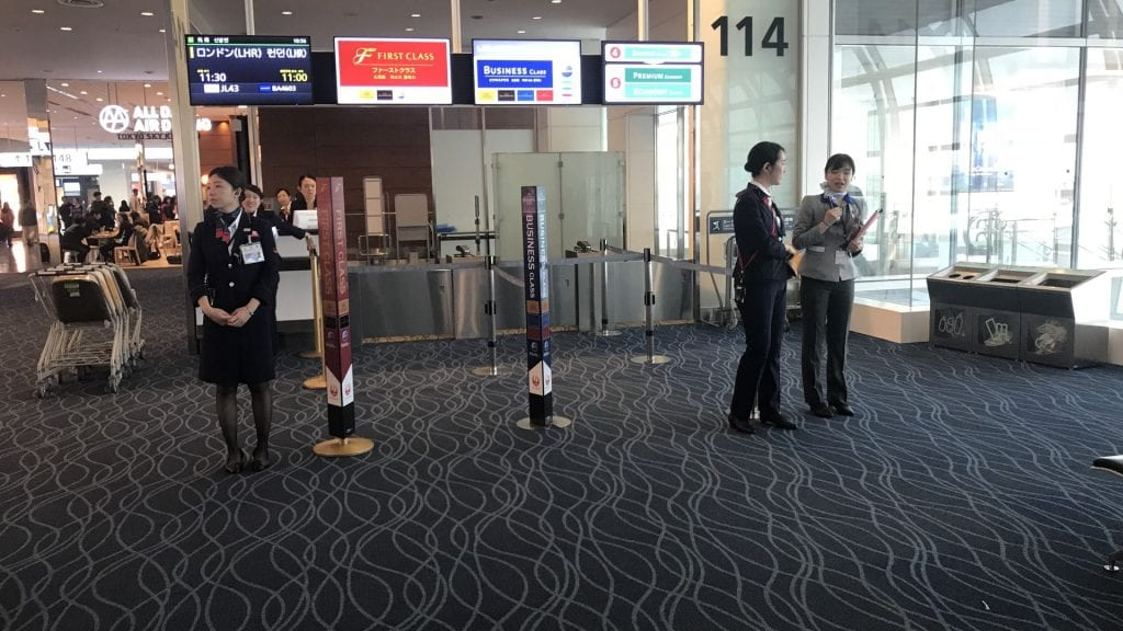 japan airlines first class boeing 777 Boarding