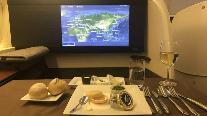 japan airlines first class boeing 777 caviar 2