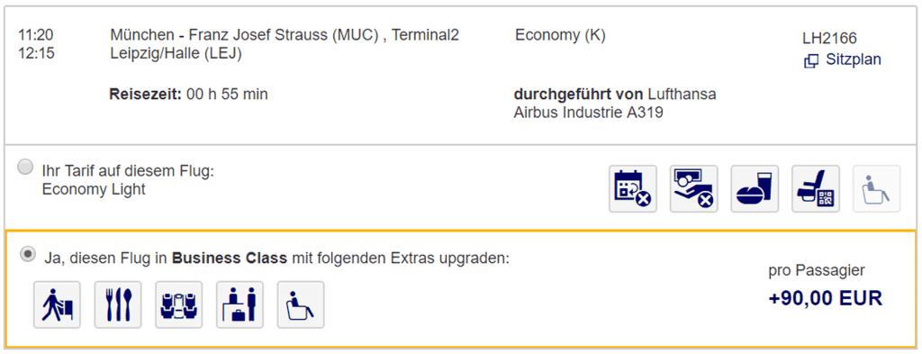 Lufthansa Upgrade zum Fixpreis mit Plusgrade