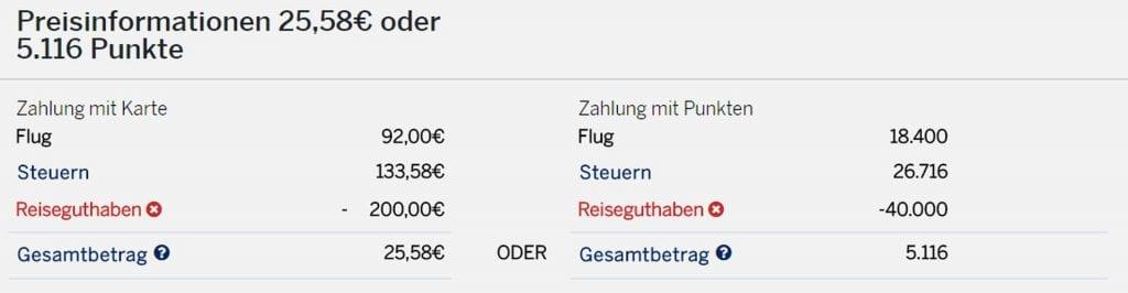 Amex Travel Preisangaben
