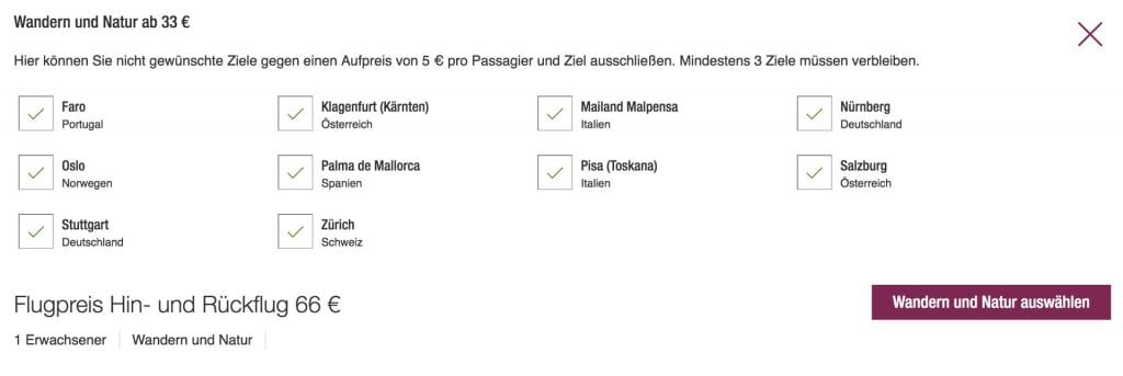 Eurowings Blind Booking Alle Ziele