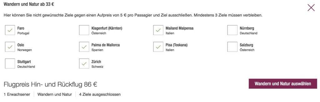 Eurowings Blind Booking Auswahl der Ziele