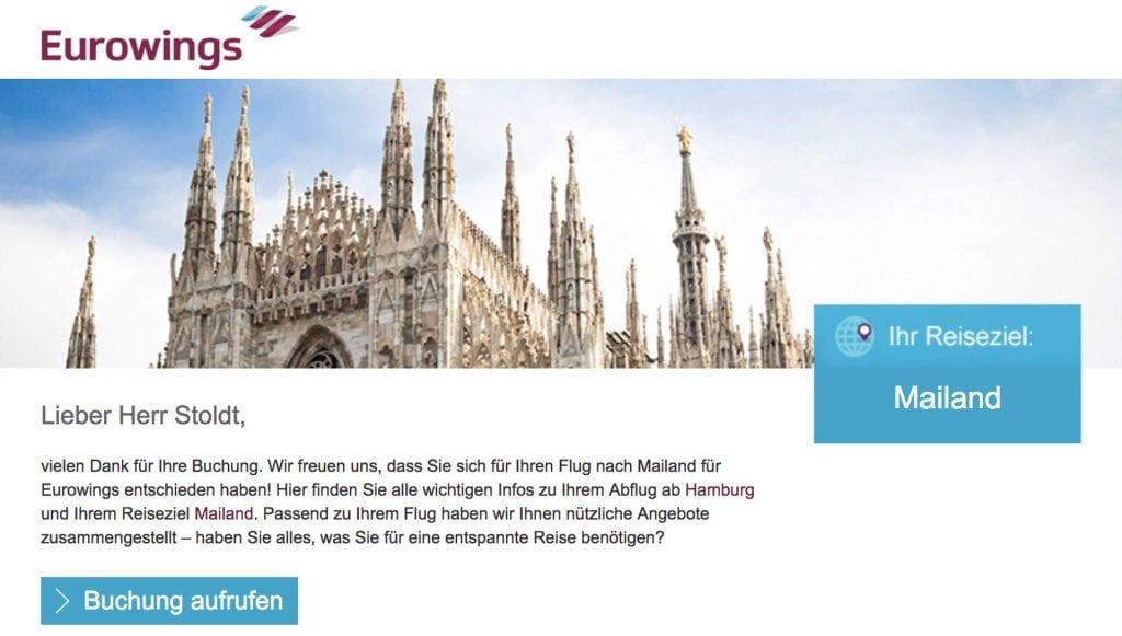 Eurowings Blind Booking Buchungsbestätigung