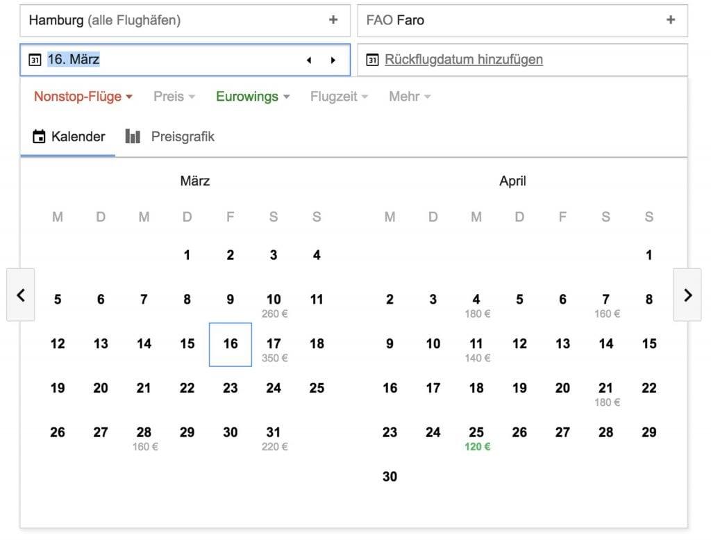 Eurowings Blind Booking Google Flights Ziele ausschließen