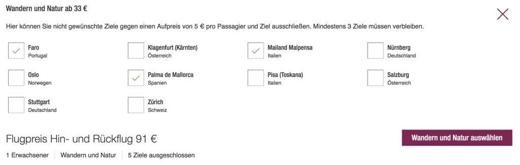 Eurowings Blind Booking Ziele Auswahl