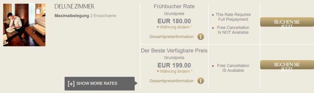 Jumeirah Frankfurt Buchungsbeispiel