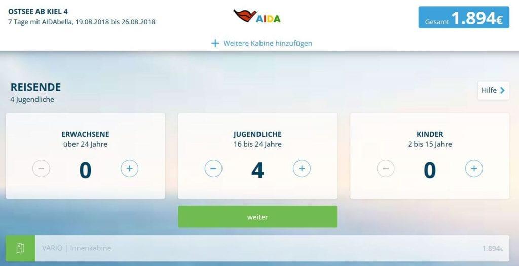 Reisebeispiel 1 AIDAbella Ostsee August 2018 2
