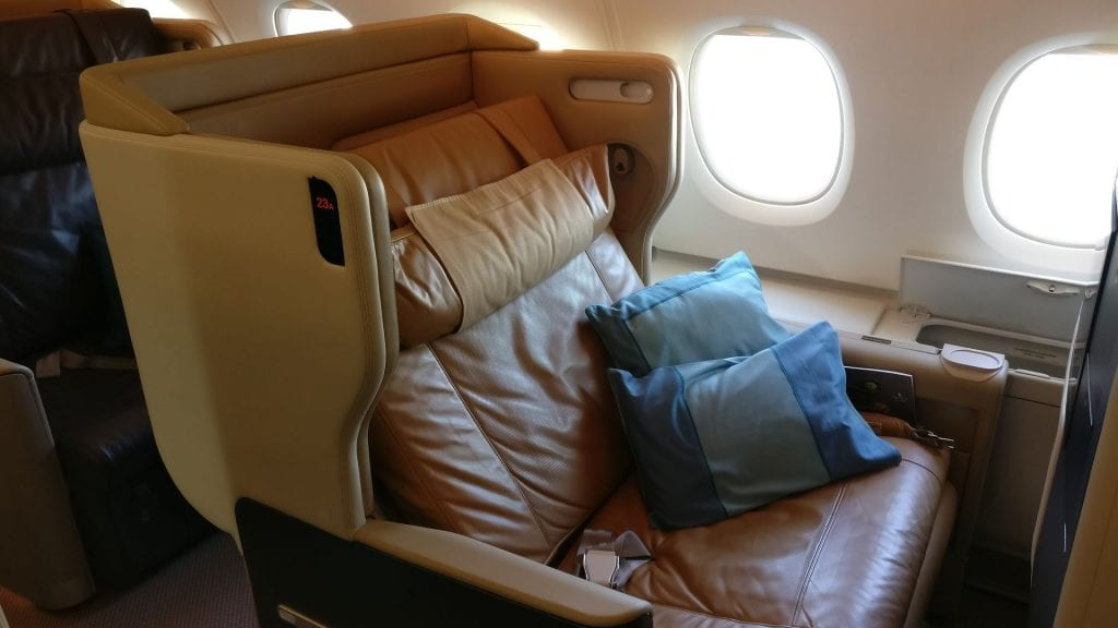 Singapore Airlines Business Class Airbus A380 Sitz