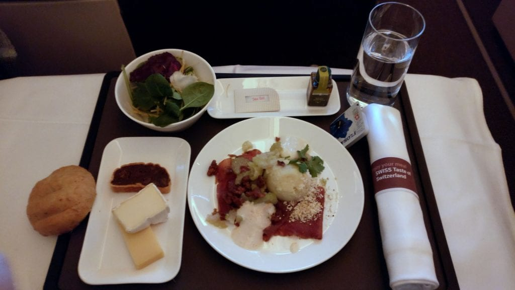 Swiss Business Class Boeing 777 Dinner 3