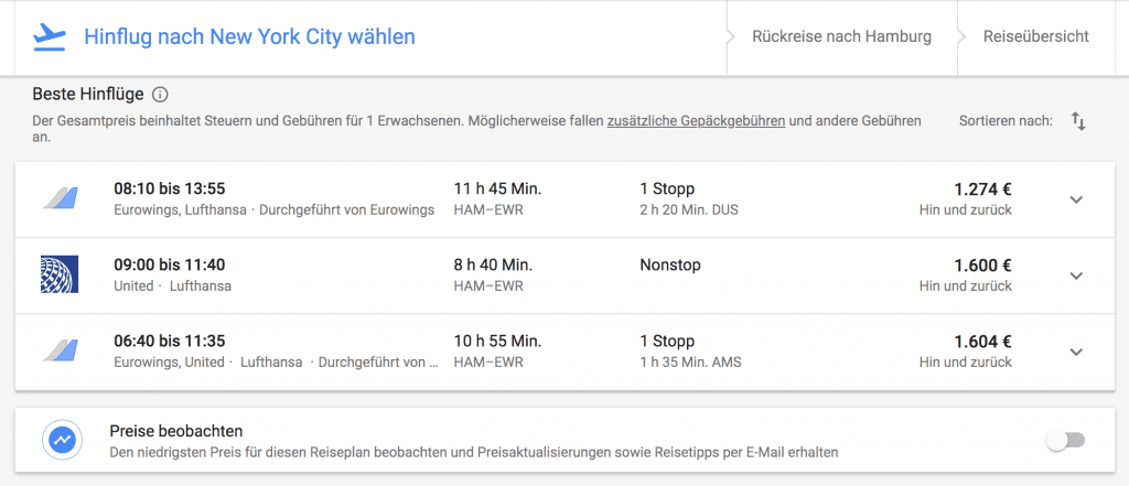 google flüge hinflug
