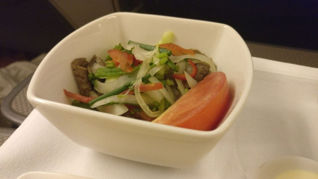 Cathay Pacific Business Class Boeing 777 300 Dinner 2