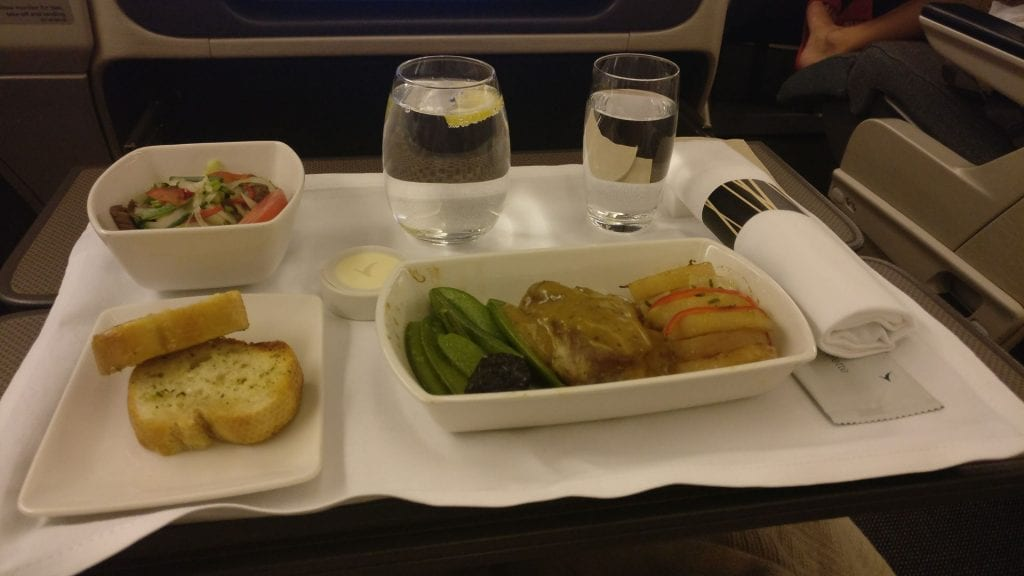 Cathay Pacific Business Class Boeing 777 300 Dinner 5