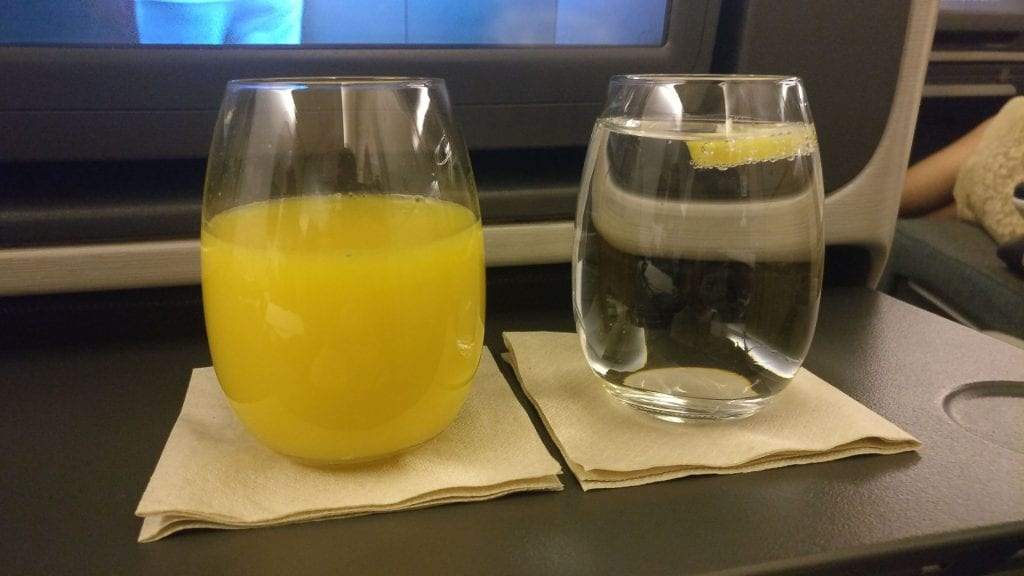 Cathay Pacific Business Class Boeing 777 300 Drink