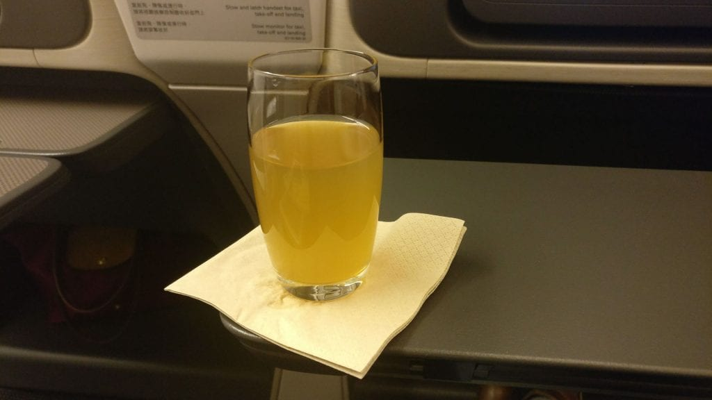 Cathay Pacific Business Class Boeing 777 300 Welcome Drink