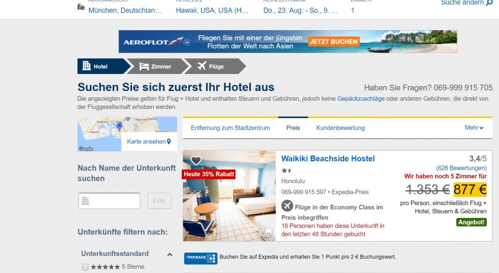Expedia Flug Hotel Schritt 3