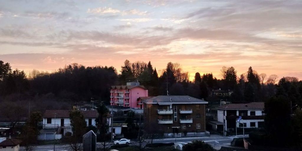 Hilton Garden Inn Milan Malpensa Zimmer Blick Sonnenaufgang Morgen