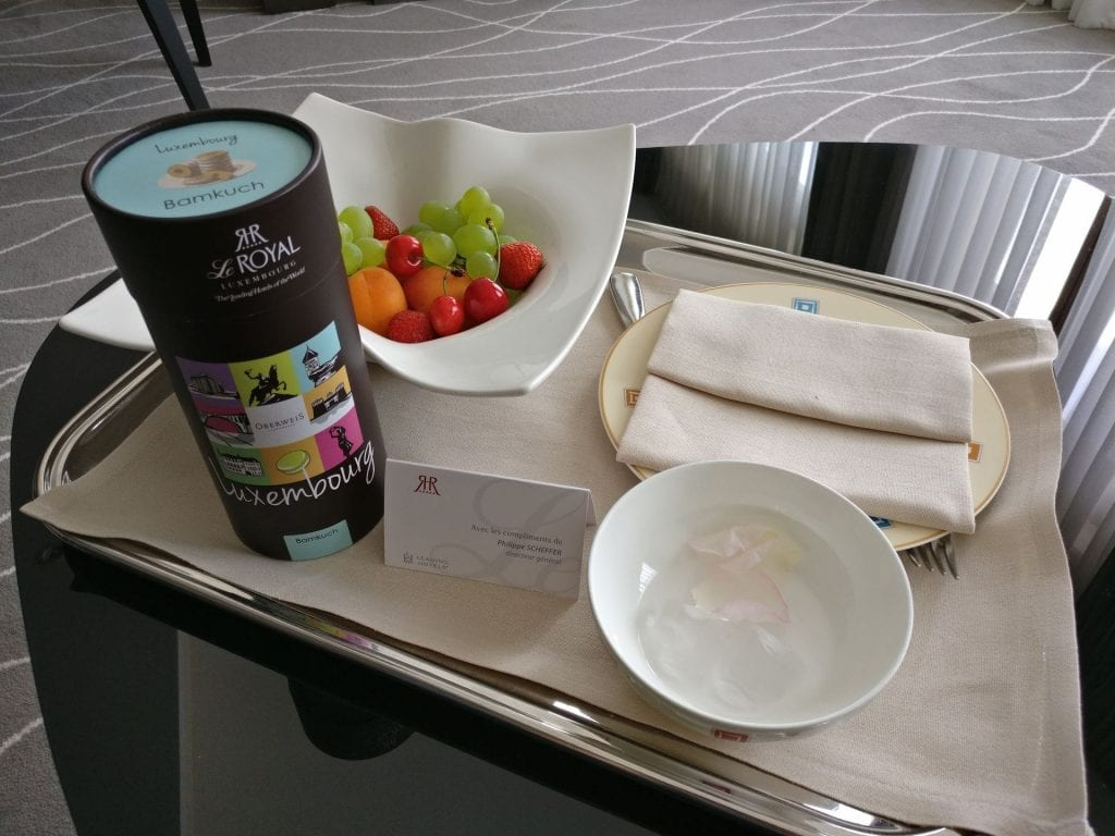 Hotel Le Royal Luxemburg Willkommensgeschenk