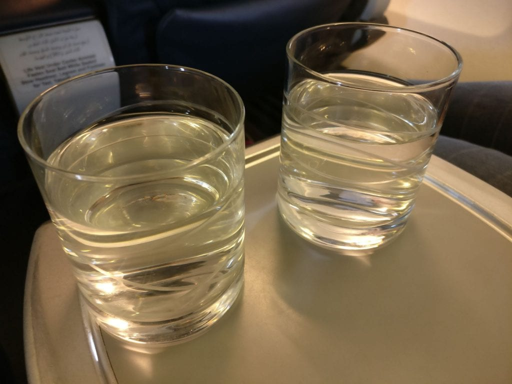 Oman Air Business Class Boeing 737 Welcome Drink