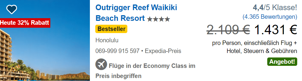 Outrigger Reef Hawaii Expedia 7 Tage