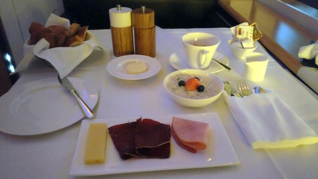 Swiss First Class Boeing 777 Breakfast