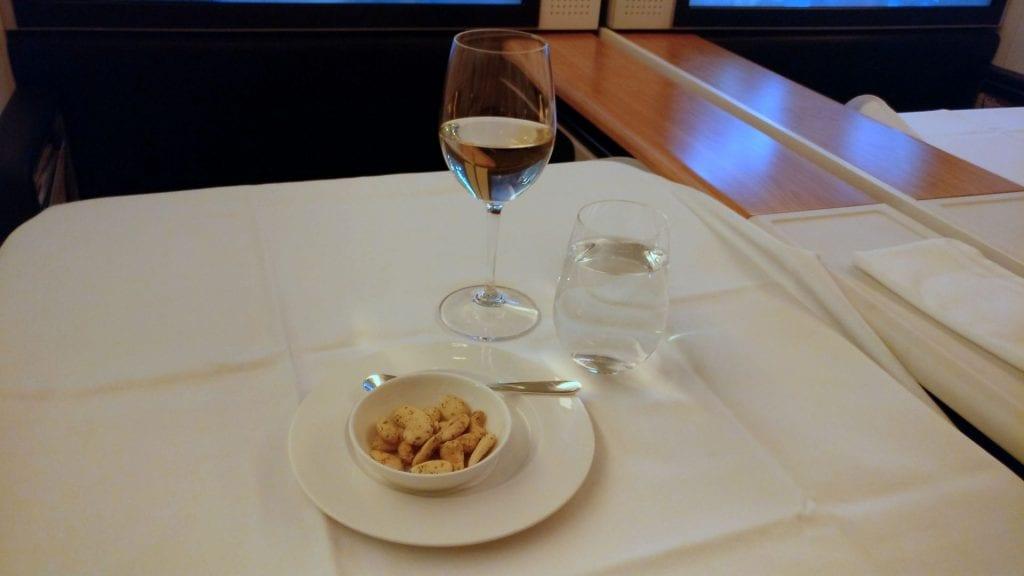 Swiss First Class Boeing 777 Dinner 4